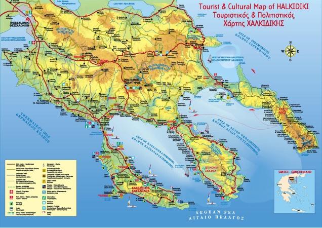 Mapa Halkidiki